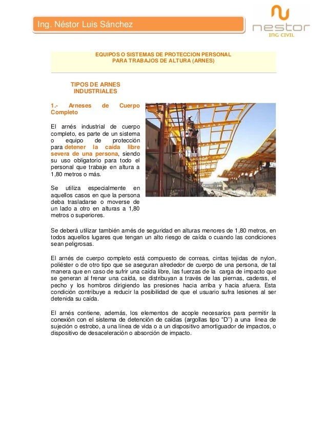 Equipos o Sistemas de Proteccion Personal - Ing. Nestor Luis Sanchez