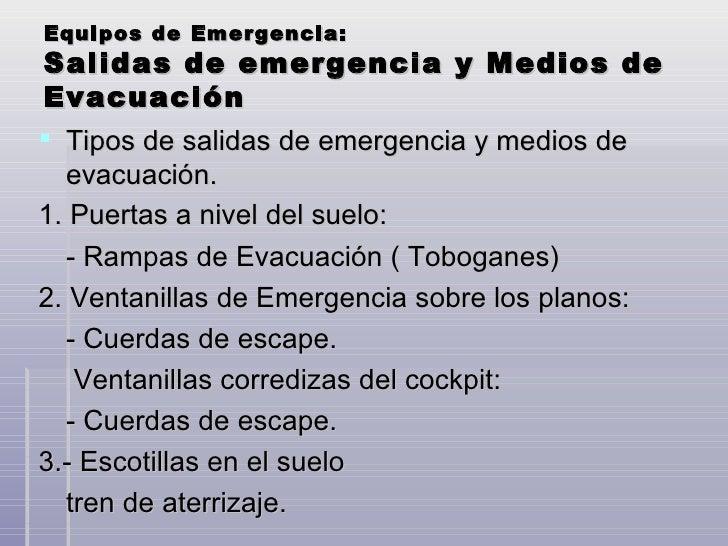 Salidas de Emergencia de un Avion Equipos de Emergencia:salidas
