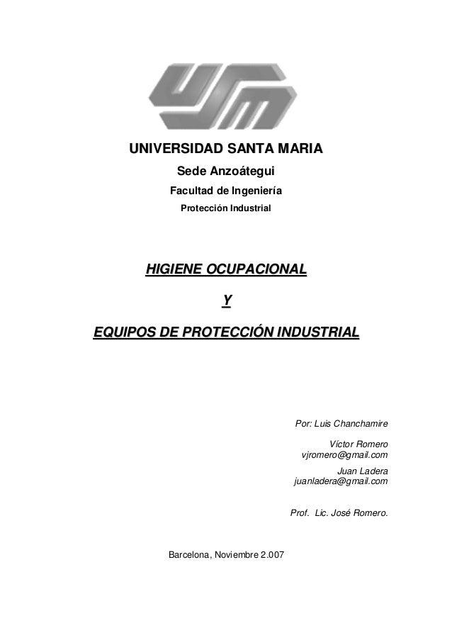 Higiene Ocupacional y Equipos de Protección Personal (EPP)