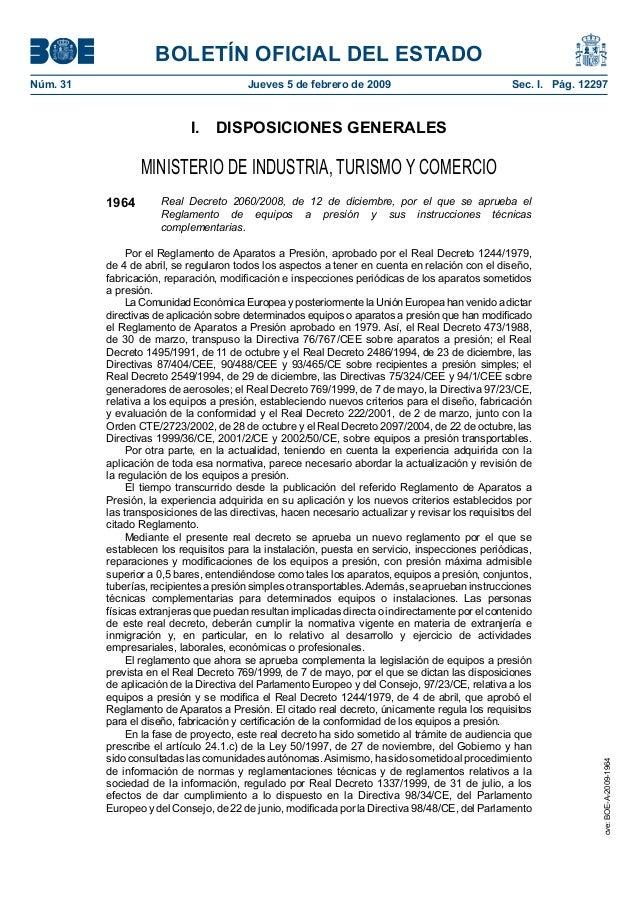 reglamento de equipos a presión Real Decreto 2060/2008