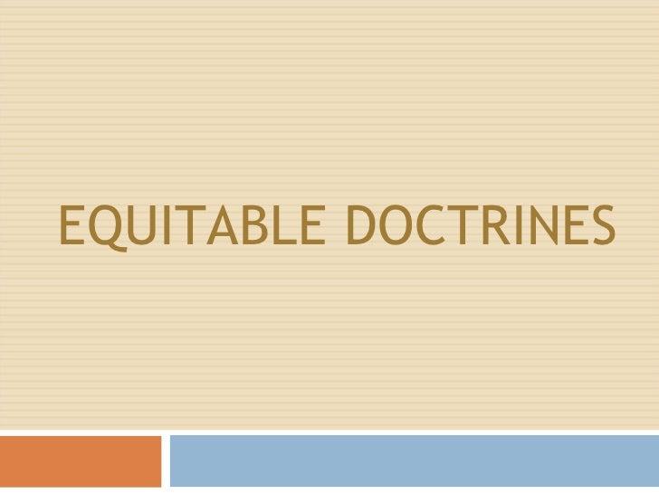 Equitable doctrines