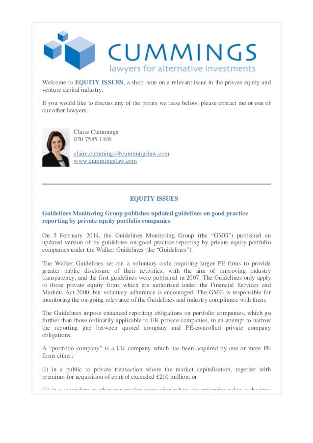 Equity issues 10.02.14  GMG publishes updated guidelines on good practice reporting by private equity portfolio companies