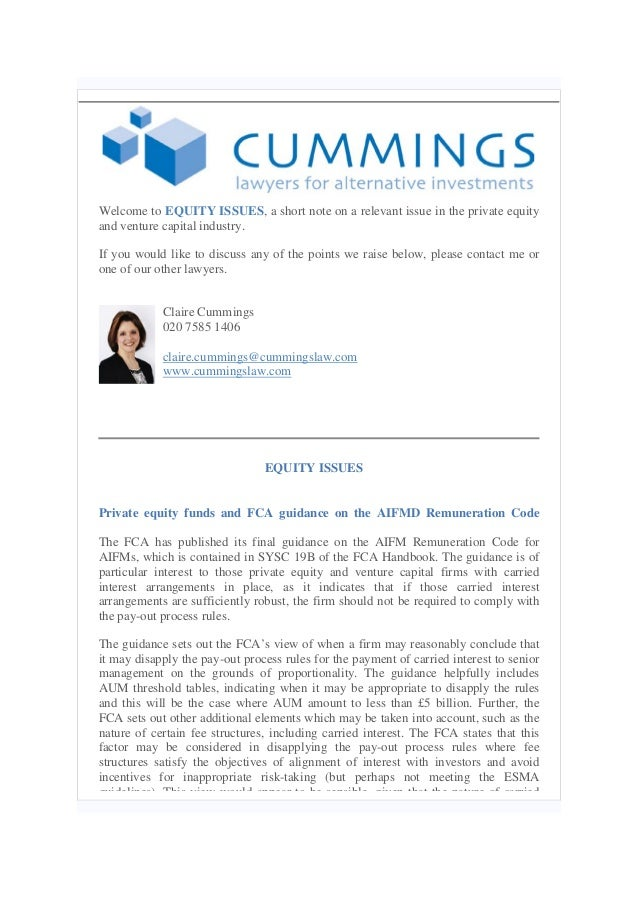 Equity issues 17.02.14   Private Equity Funds and FCA guidance on the AIFMD remuneration code