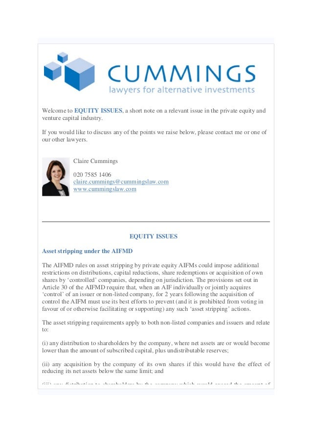 Equity issues 17.03.14  Asset stripping under the AIFMD