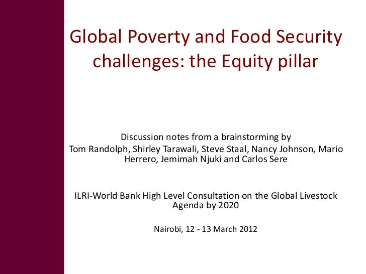 Global poverty and food security challenges: The equity pillar