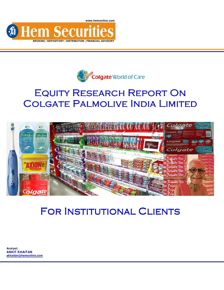 Equity Research Of Colgate Palmolive Imppppppp