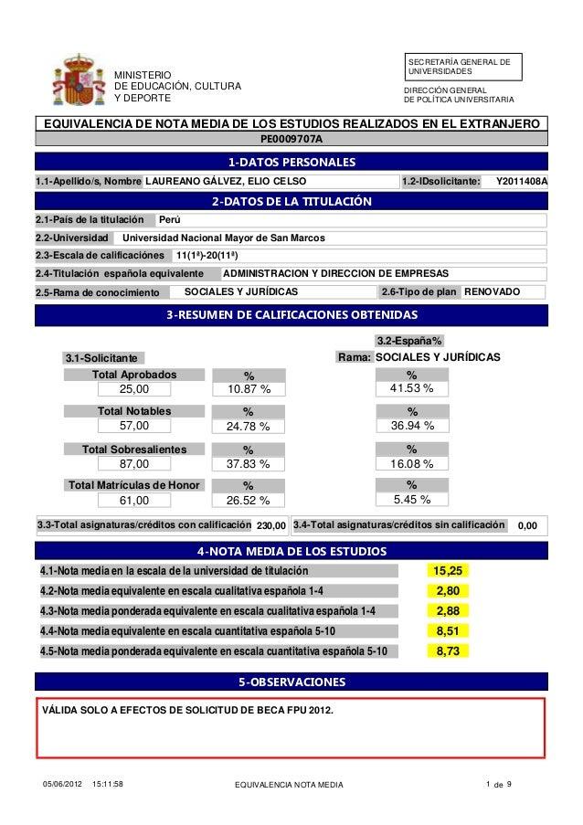 Equivalencia nota media titulo universitario Perú