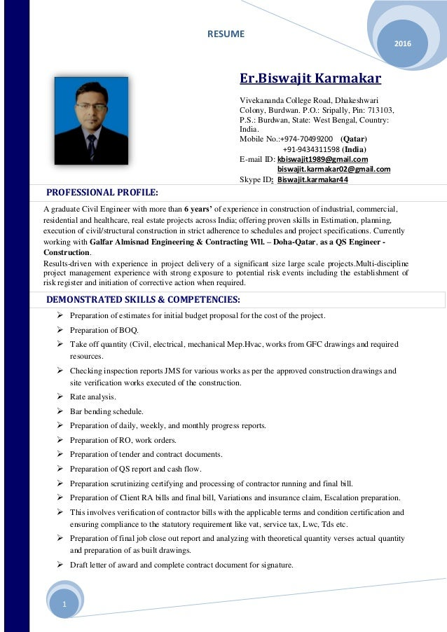 seeking a position as an quantity surveyer project