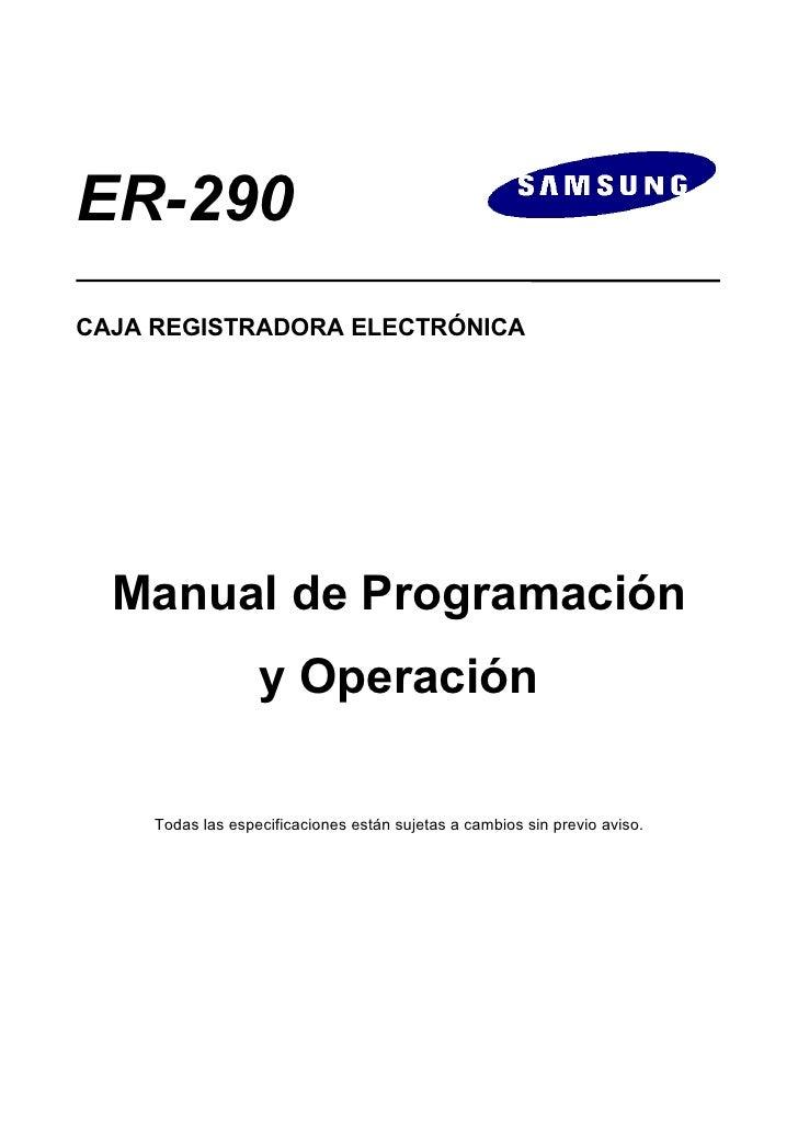 Manual de Programación SAM4S ER-290