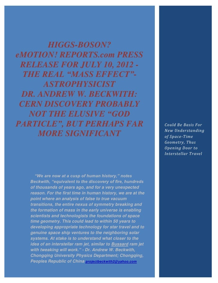 "HIGGS-BOSON?eMOTION! REPORTS.com PRESS RELEASE FOR JULY 10, 2012 -  THE REAL ""MASS EFFECT""-      ASTROPHYSICIST DR. ANDREW..."