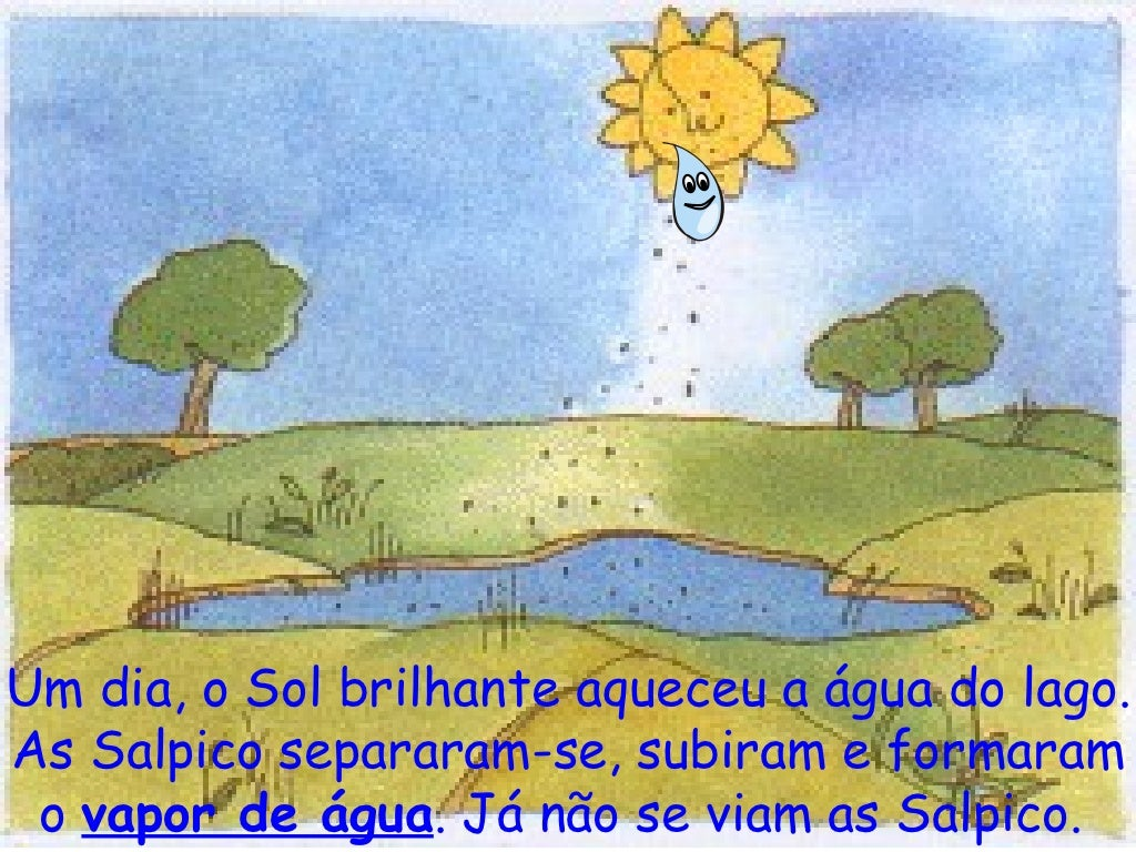 Um dia, o Sol brilhante aqueceu a água do lago. As Salpico separaram-se, subiram e formaram o  vapor de água . Já não se v...