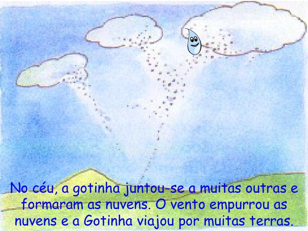 No céu, a gotinha juntou-se a muitas outras e formaram as nuvens. O vento empurrou as nuvens e a Gotinha viajou por muitas...