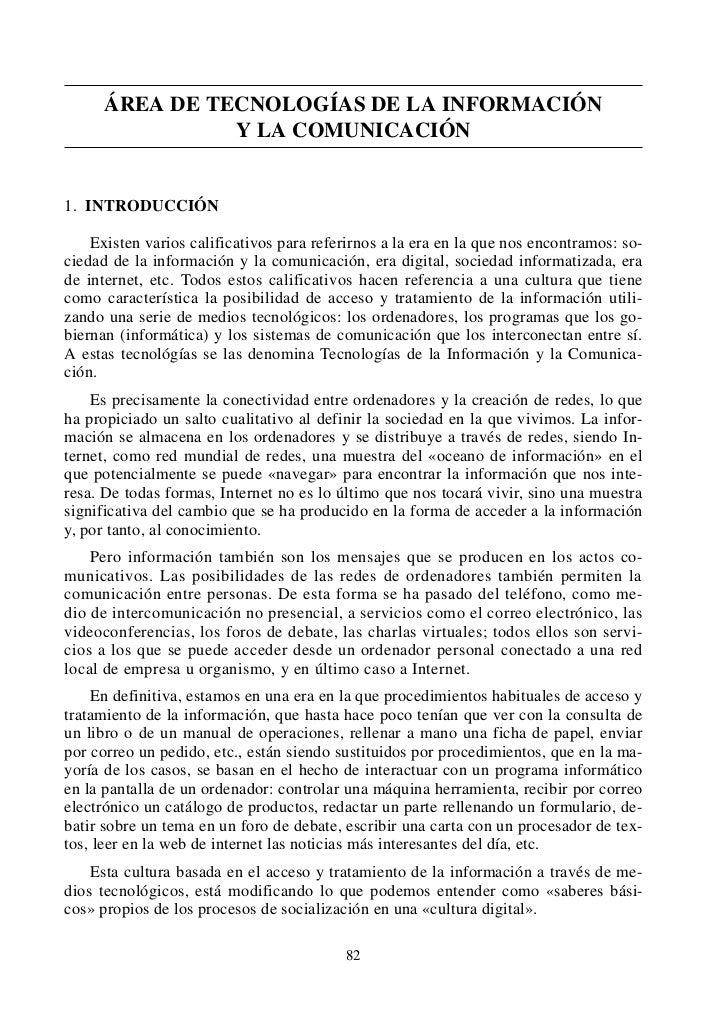 0 Marco Curricular (c)   13/11/01 15:28     P‡gina 82             ÁREA DE TECNOLOGÍAS DE LA INFORMACIÓN                   ...