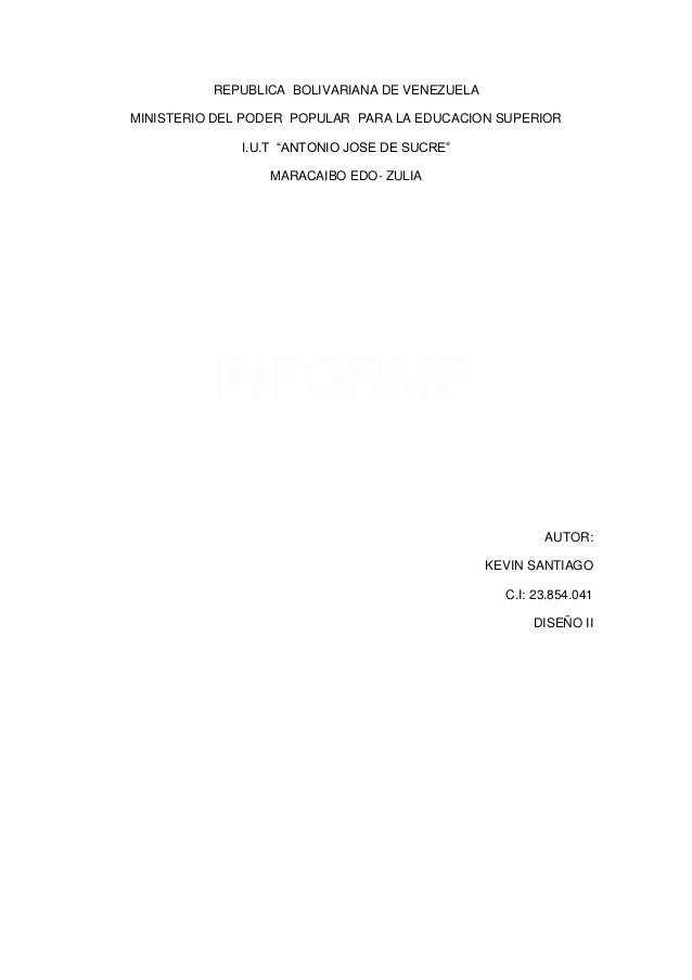 "REPUBLICA BOLIVARIANA DE VENEZUELA MINISTERIO DEL PODER POPULAR PARA LA EDUCACION SUPERIOR I.U.T ""ANTONIO JOSE DE SUCRE"" M..."