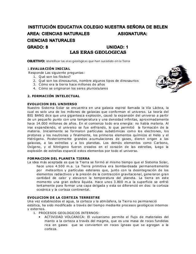INSTITUCIÓN EDUCATIVA COLEGIO NUESTRA SEÑORA DE BELEN AREA: CIENCIAS NATURALES ASIGNATURA: CIENCIAS NATURALES GRADO: 8 UNI...