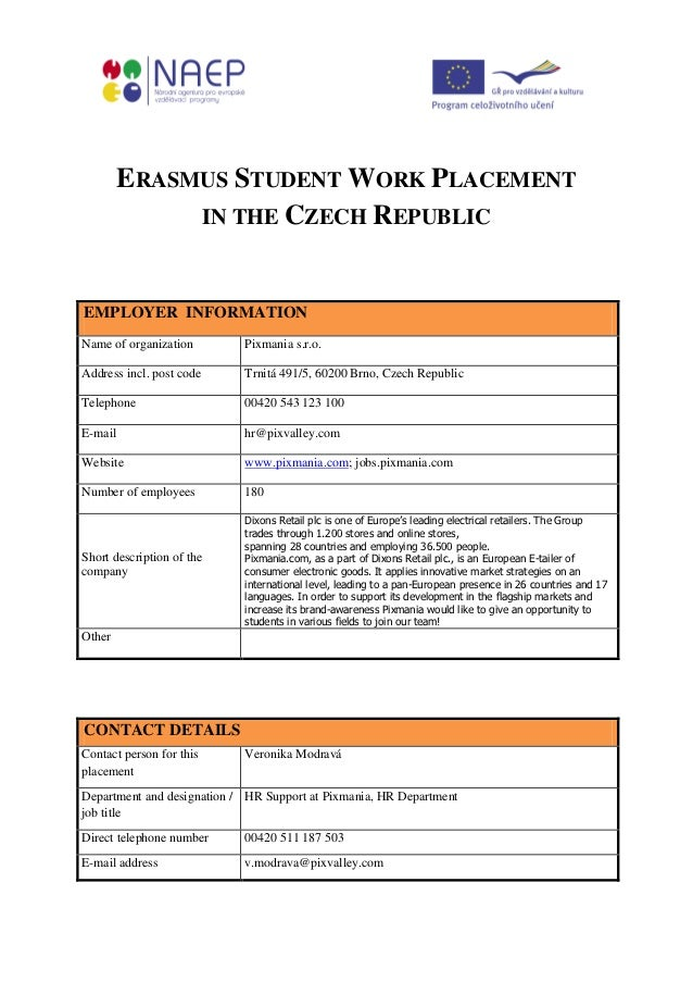 Erasmus student work placement in the czech republic