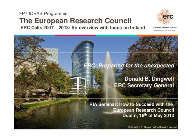 FP7 IDEAS ProgrammeThe European Research CouncilEstablished by the European CommissionThe European Research CouncilERC Cal...