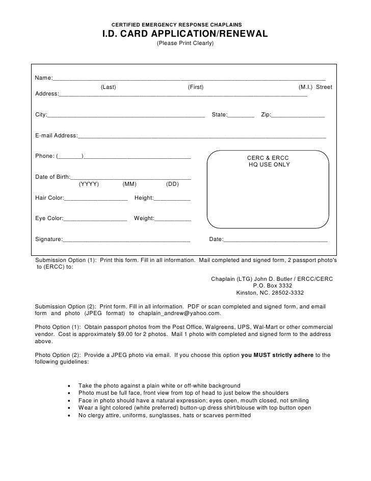 ERCC Chaplaincy Application