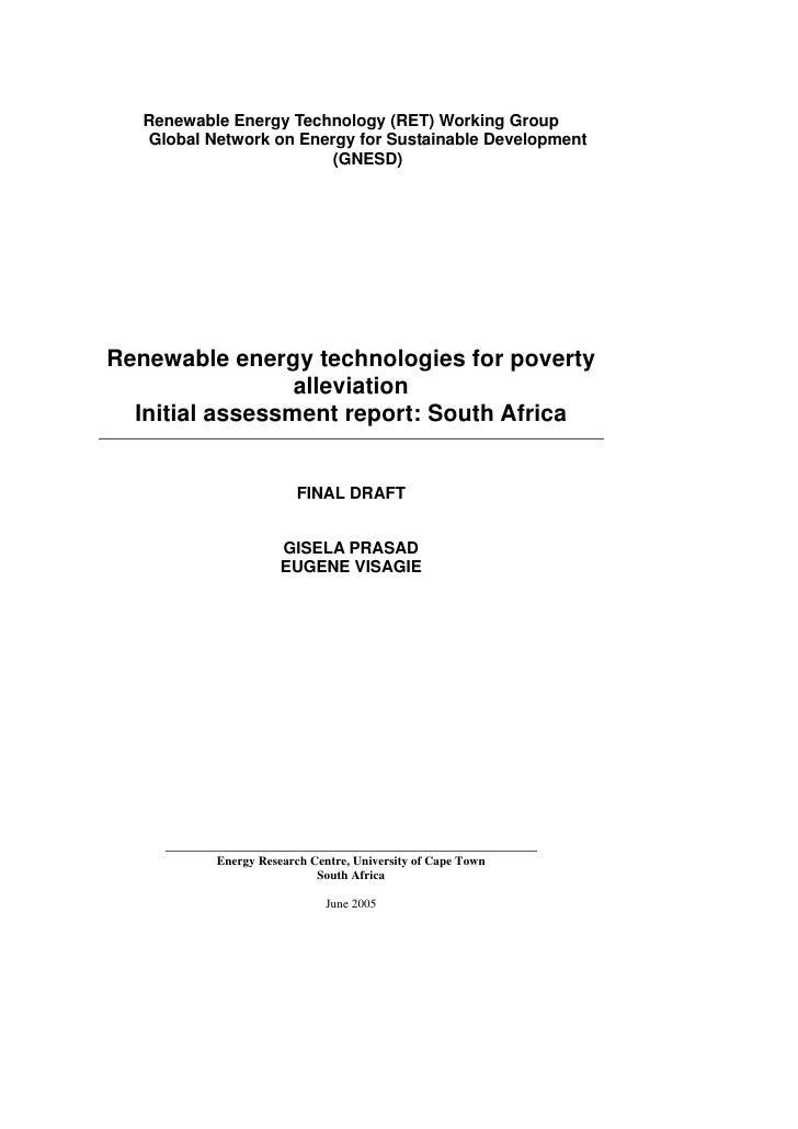 Renewable Energy Technologies for Poverty Alleviation: South Africa
