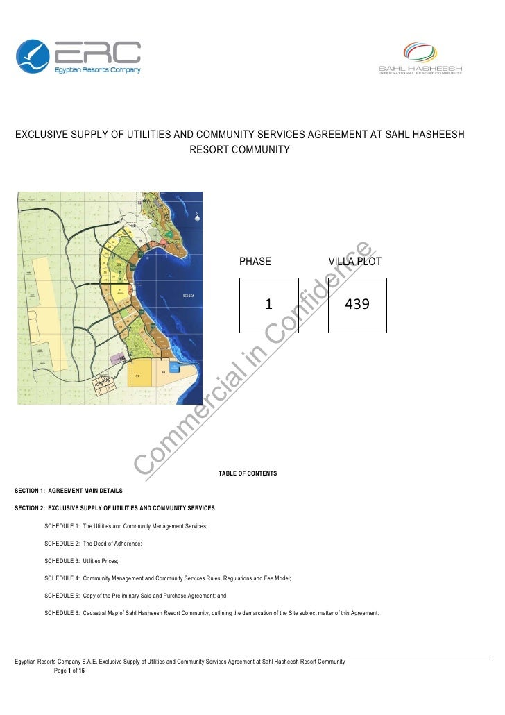 EXCLUSIVE SUPPLY OF UTILITIES AND COMMUNITY SERVICES AGREEMENT AT SAHL HASHEESH                                 RESO...
