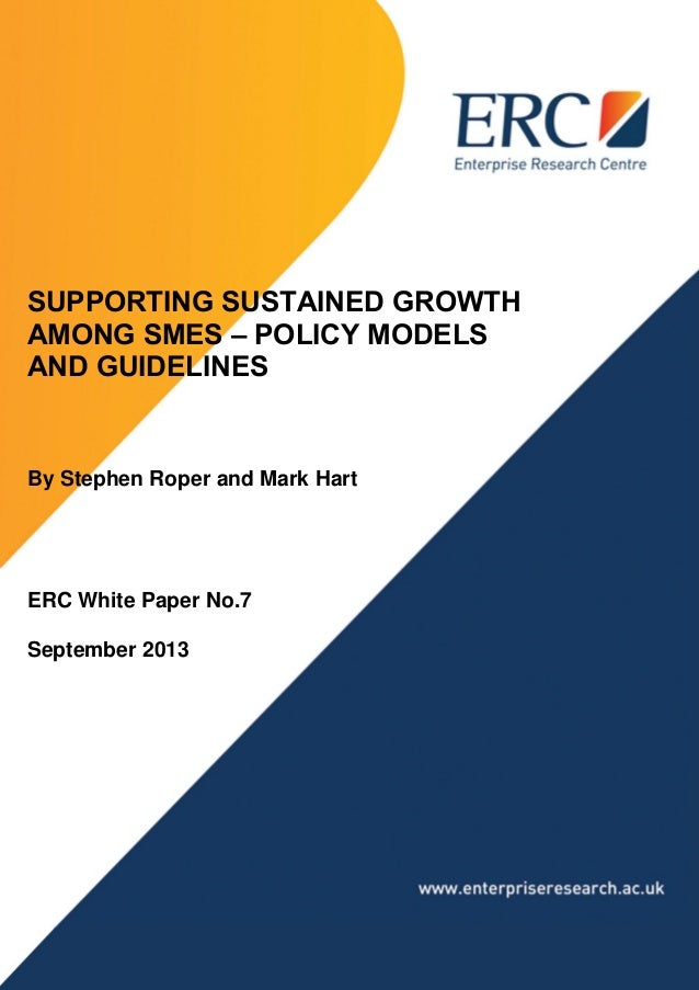 Supporting Sustained Growth Among SMEs 1 PAGE TITLE HERE SUPPORTING SUSTAINED GROWTH AMONG SMES – POLICY MODELS AND GUIDEL...