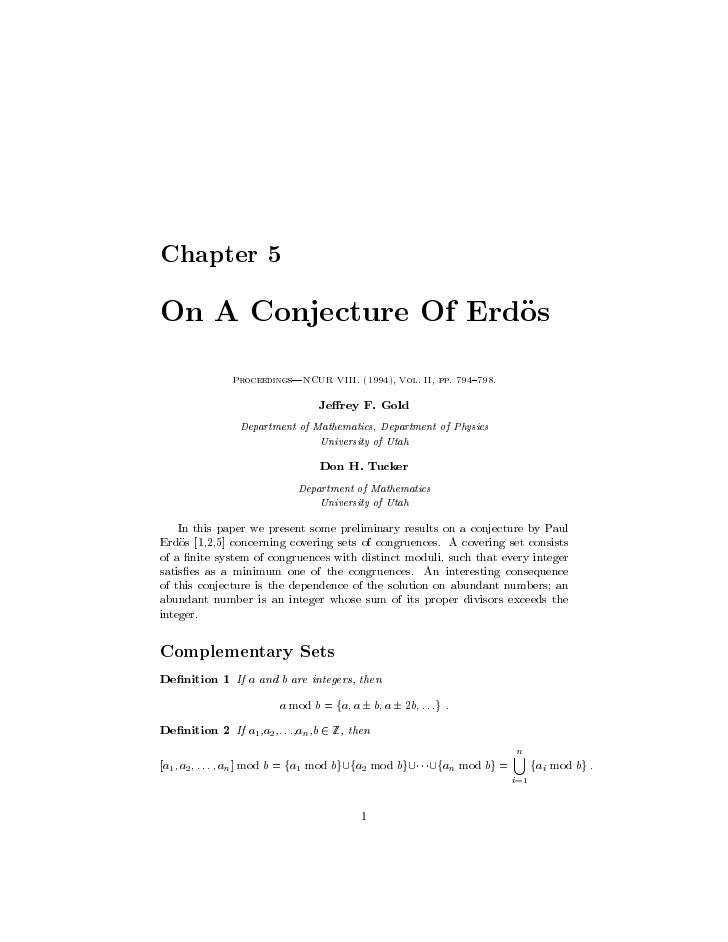 Chapter 5  On A Conjecture Of Erdos               Proceedings|NCUR VIII. 1994, Vol. II, pp. 794 798.                      ...