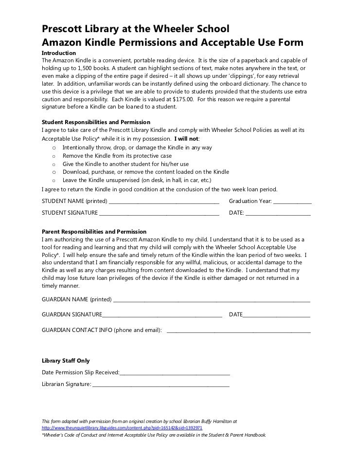 Prescott Library at the Wheeler SchoolAmazon Kindle Permissions and Acceptable Use FormIntroductionThe Amazon Kindle is a ...