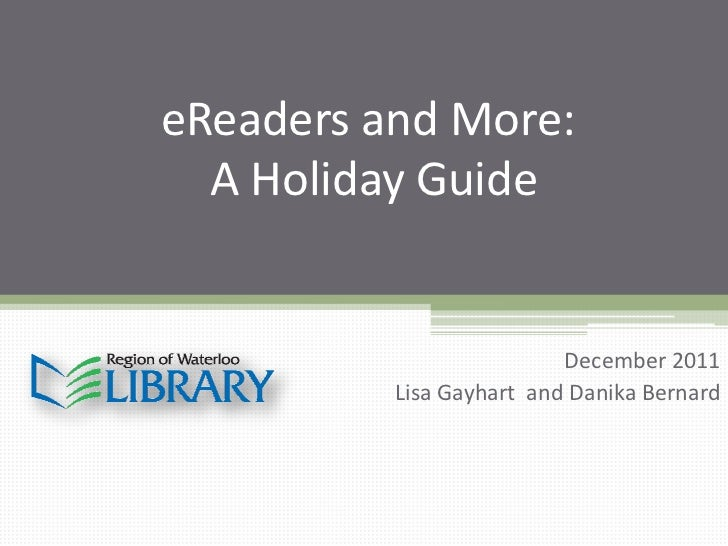 eReaders and more - a holiday guide (Dec 2011)