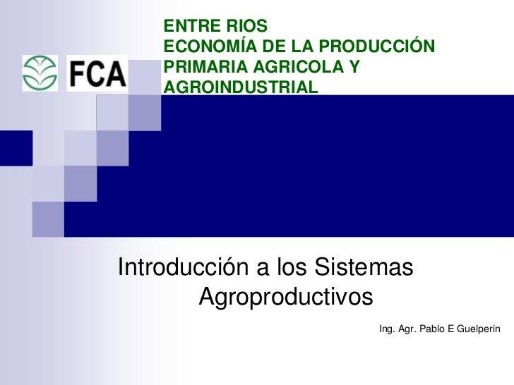 Economía de la producción primaria en Entre Ríos