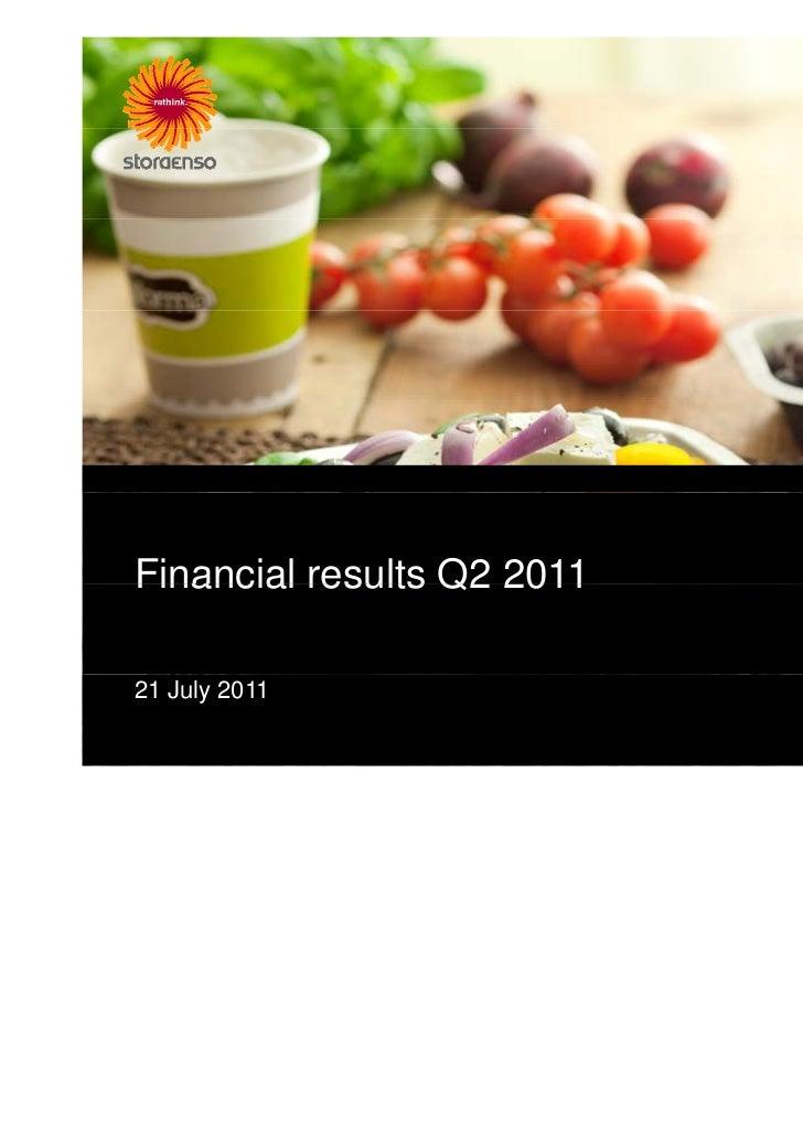 Stora Enso Q2 2011 Results