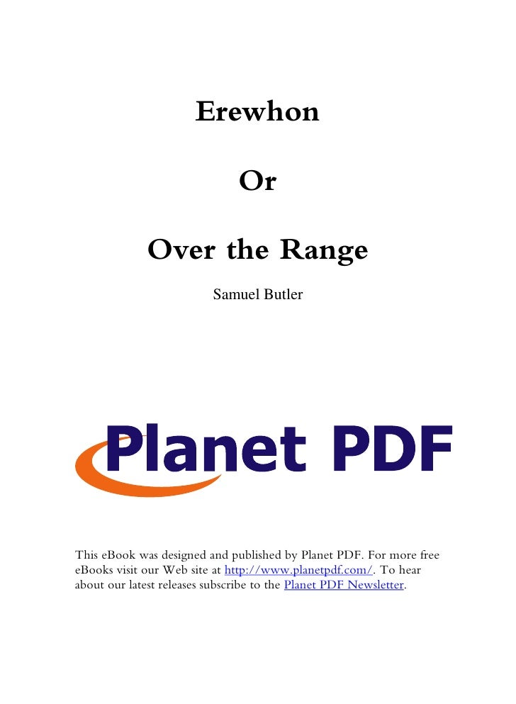 Erewhon                               Or               Over the Range                         Samuel Butler     This eBook...