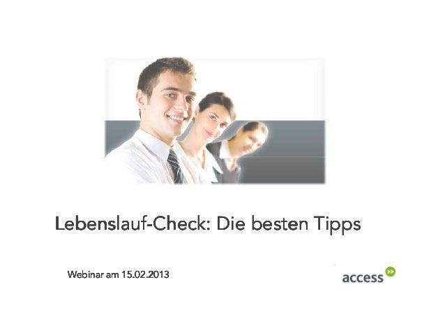 Lebenslauf Check: Die besten Tipps Webinar am 15.02.2013
