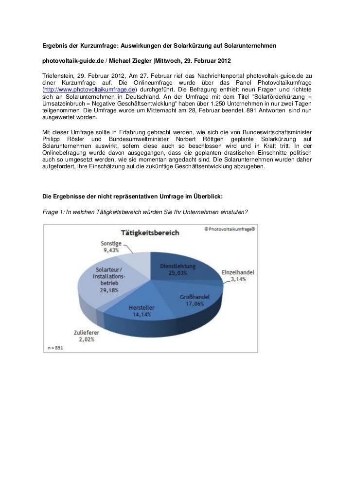 Ergebnis der Kurzumfrage: Auswirkungen der Solarkürzung auf Solarunternehmenphotovoltaik-guide.de / Michael Ziegler  Mittw...