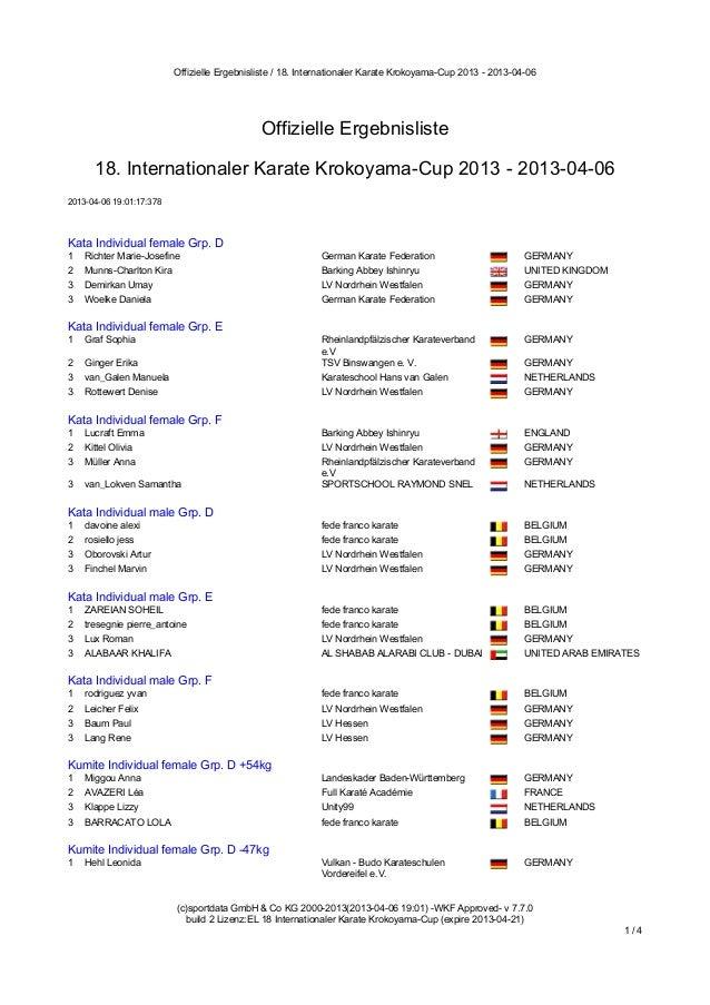 Offizielle Ergebnisliste / 18. Internationaler Karate Krokoyama-Cup 2013 - 2013-04-06                                     ...