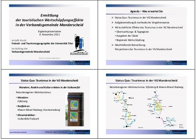 Agenda – Was erwartet Sie  Ermittlung der touristischen Wertschöpfungseffekte in der Verbandsgemeinde Manderscheid Ergebni...