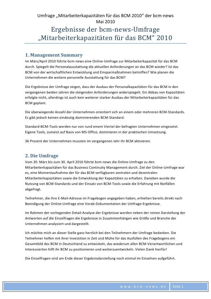 """Umfrage""""MitarbeiterkapazitätenfürdasBCM2010""""derbcm‐news                                   Mai2010        ..."""