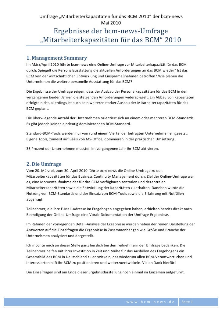 Ergebnisse der Online-Umfrage zu Mitarbeiterkapazitäten für das Business Continuity Management