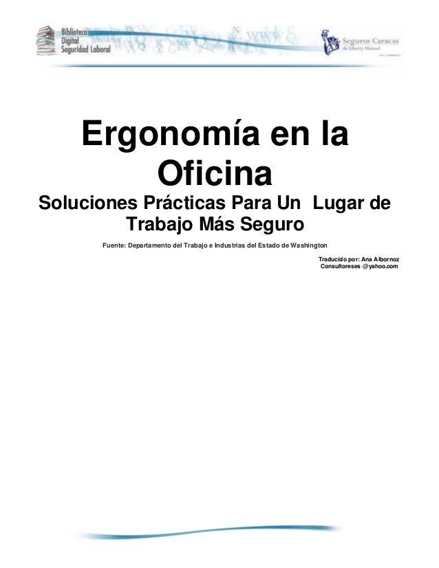 Ergonomia en la oficina for Direccion de la oficina
