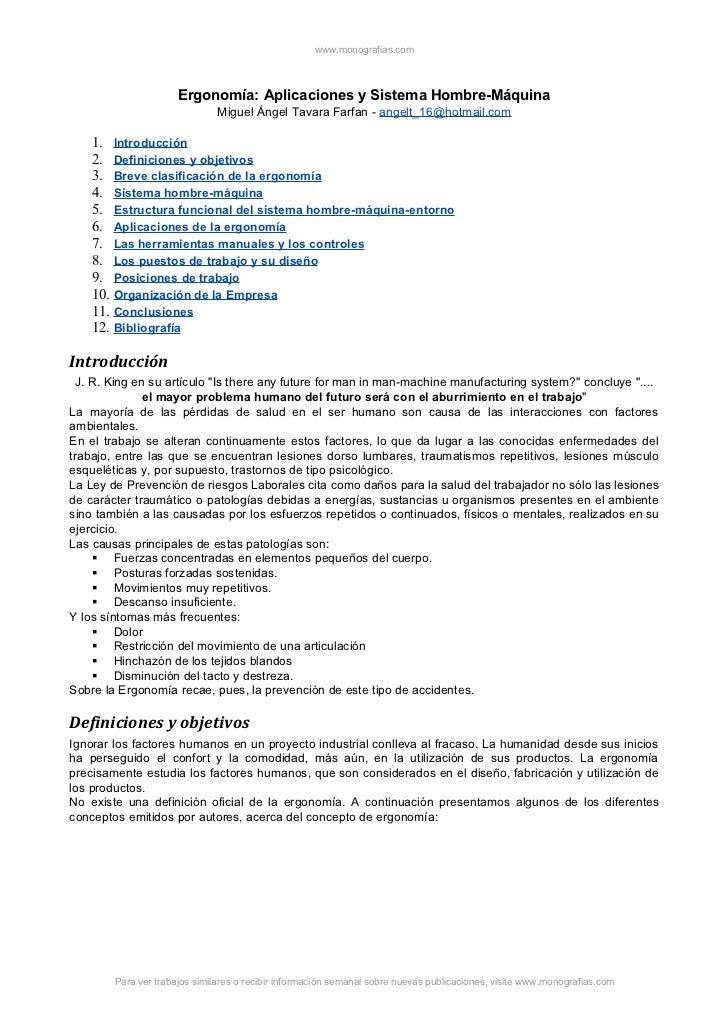 www.monografias.com                      Ergonomía: Aplicaciones y Sistema Hombre-Máquina                               Mi...