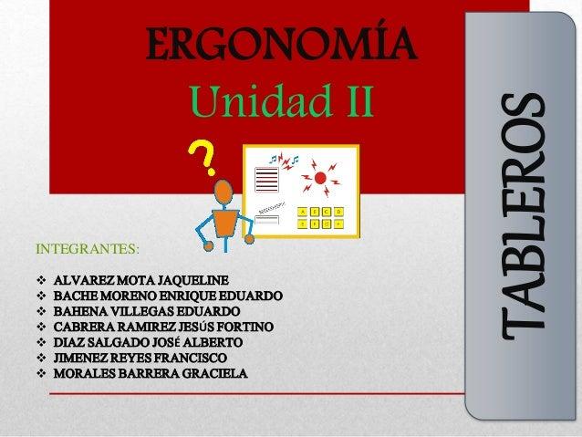 ERGONOMÍA  Unidad II  TABLEROS  INTEGRANTES:   ALVAREZMOTA JAQUELINE   BACHEMORENO ENRIQUE EDUARDO   BAHENA VILLEGAS ED...