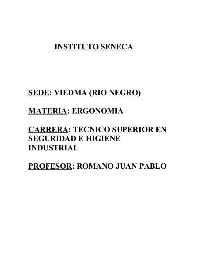INSTITUTO SENECA SEDE: VIEDMA (RIO NEGRO) MATERIA: ERGONOMIA CARRERA: TECNICO SUPERIOR EN SEGURIDAD E HIGIENE INDUSTRIAL P...