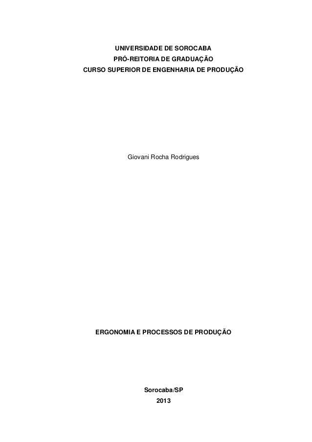 Ergonomia e processos de produção
