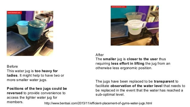 Before This water jug is too heavy for ladies. It might help to have two or more smaller water jugs.  After The smaller ju...