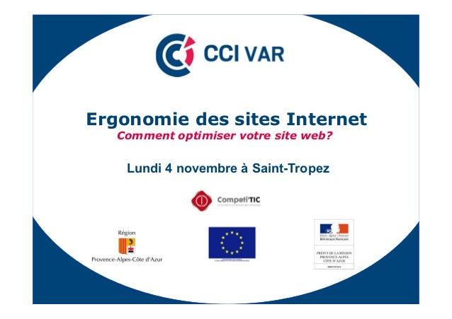 """(UJRQRPLH GHV VLWHV ,QWHUQHW &RPPHQW RSWLPLVHU YRWUH VLWH ZHE""""  Lundi 4 novembre à Saint-Tropez"""
