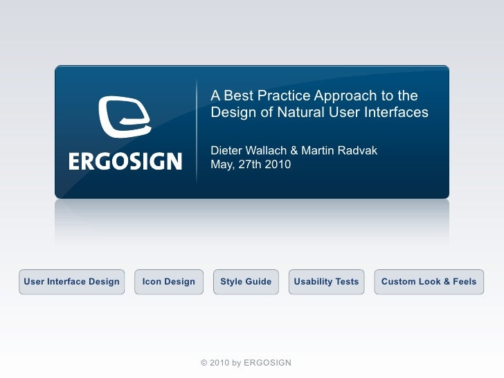 A Best Practice Approach to the                                        Design of Natural User Interfaces                  ...