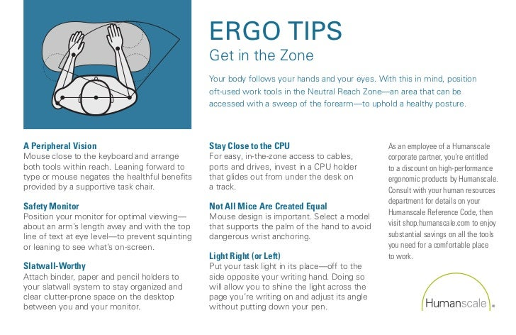 ERGO TIPS                                                 Get in the Zone                                                 ...