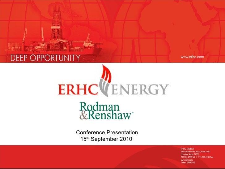 Conference Presentation 15 th  September 2010