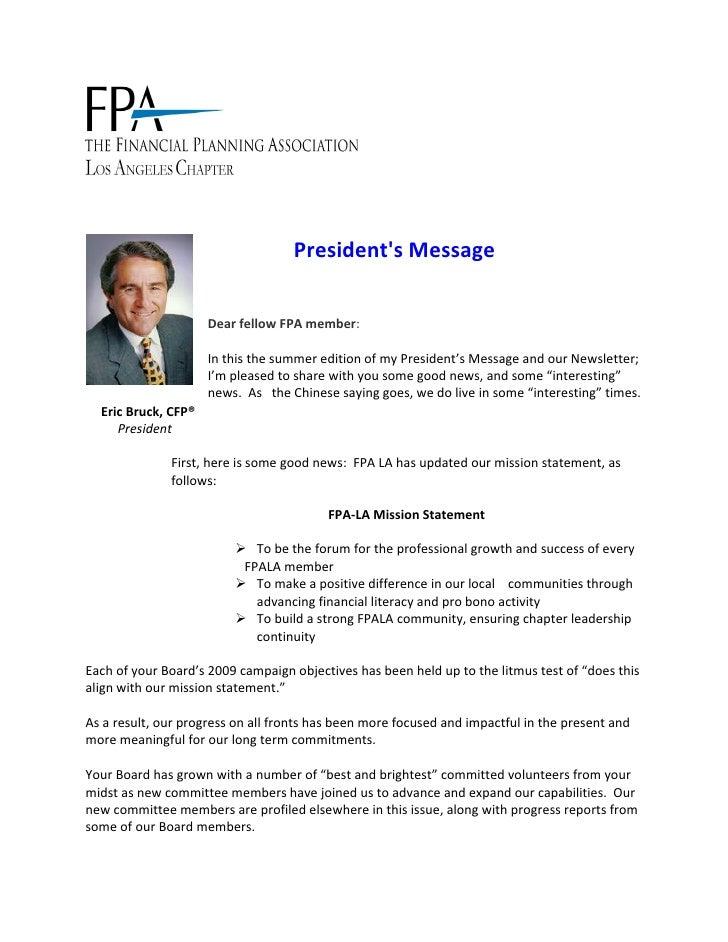 Eric Bruck - Presidents Message -  FPALA Summer 2009 Newsletter