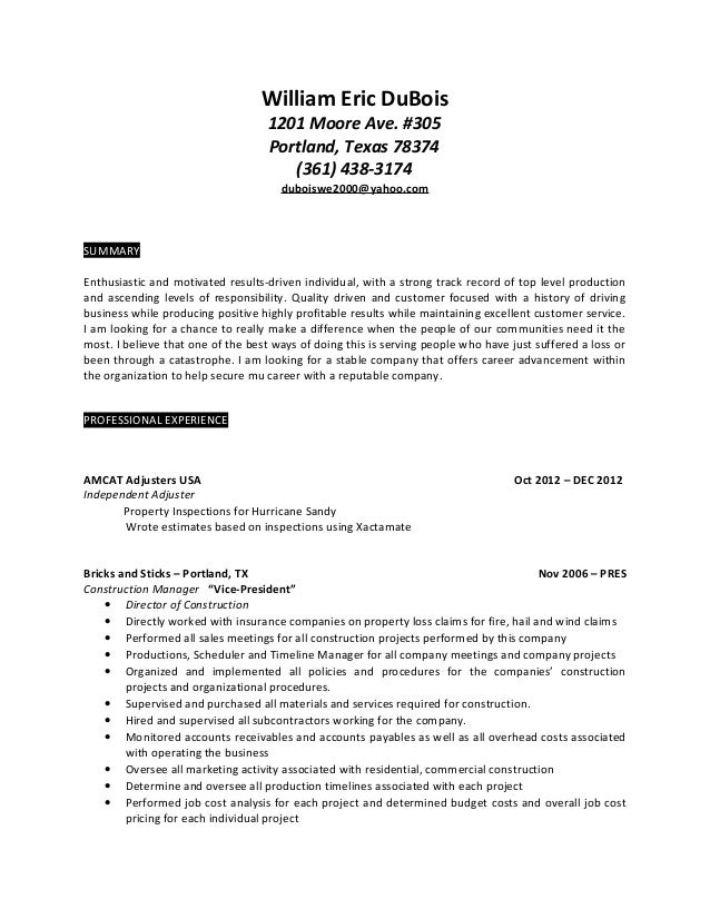 insurance claims adjuster resume s le