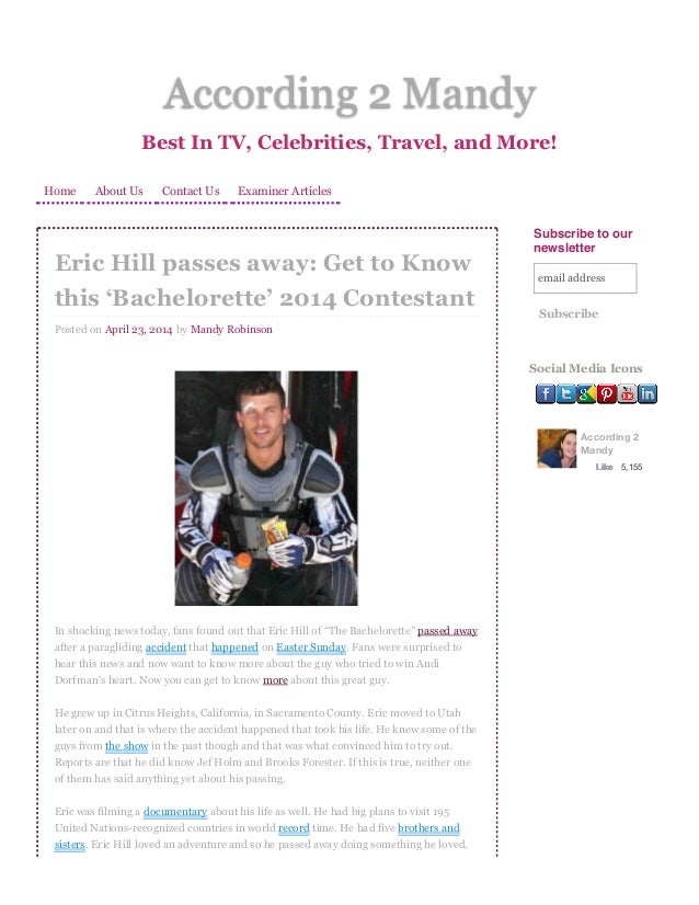 Eric Hill Passes Away: Get to Know This 'Bachelorette' 2014 Contestant   according 2 mandy according 2 mandy